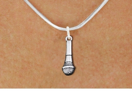 <br>SINGER'S MICROPHONE ADJUSTABLE  NECKLACE <bR>                   EXCLUSIVELY OURS!! <BR>         AN ALLAN ROBIN DESIGN!! <BR>        CADMIUM, LEAD & NICKEL FREE!! <BR>  W1554N2 - DETAILED 3D SILVER TONE <BR>     MICROPHONE CHARM & NECKLACE <BR>                        $10.38 EACH �2014