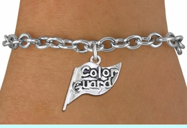"""<br> WHOLESALE FASHION CHARM BRACELET <bR>                    EXCLUSIVELY OURS!!<BR>               AN ALLAN ROBIN DESIGN!!<BR>      CLICK HERE TO SEE 1000+ EXCITING<BR>            CHANGES THAT YOU CAN MAKE!<BR>         CADMIUM, LEAD & NICKEL FREE!!<BR>     W1555SB - DETAILED 3D SILVER TONE <Br>""""COLOR GUARD"""" FLAG CHARM & BRACELET <BR>             FROM $4.50 TO $8.35 �2014"""