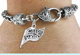 """<bR>    WHOLESALE FASHION CHARM BRACELET <BR>                     EXCLUSIVELY OURS!! <BR>                AN ALLAN ROBIN DESIGN!! <BR>          CADMIUM, LEAD & NICKEL FREE!! <BR>        W1555SB - DETAILED 3D SILVER TONE  <BR>""""COLOR GUARD"""" FLAG CHARM & HEART CLASP <BR>      BRACELET FROM $4.40 TO $9.20 �2014"""