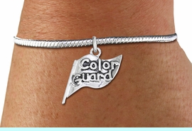 """<bR>    WHOLESALE FASHION CHARM BRACELET <BR>                     EXCLUSIVELY OURS!! <BR>                AN ALLAN ROBIN DESIGN!! <BR>          CADMIUM, LEAD & NICKEL FREE!! <BR>        W1555SB - DETAILED 3D SILVER TONE  <BR>""""COLOR GUARD"""" FLAG CHARM & SNAKE CHAIN<BR>      BRACELET FROM $4.40 TO $9.20 �2014"""