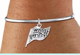 """<bR>    WHOLESALE FASHION CHARM BRACELET <BR>                     EXCLUSIVELY OURS!! <BR>                AN ALLAN ROBIN DESIGN!! <BR>          CADMIUM, LEAD & NICKEL FREE!! <BR>        W1555SB - DETAILED 3D SILVER TONE  <BR>""""COLOR GUARD"""" FLAG CHARM & SOLID WIRE <BR>      BRACELET FROM $4.40 TO $9.20 �2014"""