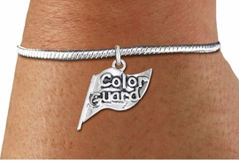 "<bR>    WHOLESALE FASHION CHARM BRACELET <BR>                     EXCLUSIVELY OURS!! <BR>                AN ALLAN ROBIN DESIGN!! <BR>          CADMIUM, LEAD & NICKEL FREE!! <BR>        W1555SB - DETAILED 3D SILVER TONE  <BR>""COLOR GUARD"" FLAG CHARM & SNAKE CHAIN<BR>      BRACELET FROM $4.40 TO $9.20 �2014"