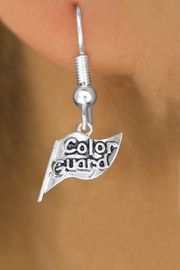 """<br>     WHOLESALE FASHION CHARM EARRINGS <bR>                 EXCLUSIVELY OURS!! <BR>            AN ALLAN ROBIN DESIGN!! <BR>      CADMIUM, LEAD & NICKEL FREE!! <BR>    W1555SE - DETAILED SILVER TONE <Br>""""COLOR GUARD"""" FLAG CHARM EARRINGS <BR>          FROM $3.65 TO $8.40 �2014"""