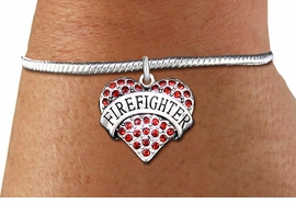 "<bR>    WHOLESALE FASHION CHARM BRACELET <BR>                     EXCLUSIVELY OURS!! <BR>                AN ALLAN ROBIN DESIGN!! <BR>          CADMIUM, LEAD & NICKEL FREE!! <BR>W1557SB - SILVER TONE AND RED CRYSTAL <BR>""FIREFIGHTER"" HEART CHARM & SNAKE CHAIN<BR>      BRACELET FROM $5.98 TO $12.85 �2014"