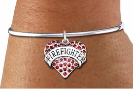 "<bR>    WHOLESALE FASHION CHARM BRACELET <BR>                     EXCLUSIVELY OURS!! <BR>                AN ALLAN ROBIN DESIGN!! <BR>          CADMIUM, LEAD & NICKEL FREE!! <BR>W1557SB - SILVER TONE AND RED CRYSTAL <BR>""FIREFIGHTER"" HEART CHARM & SOLID WIRE <BR>      BRACELET FROM $5.98 TO $12.85 �2014"