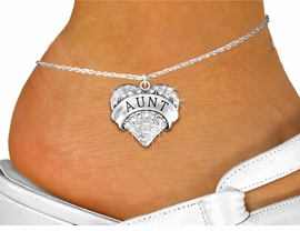 "<bR>      WHOLESALE FASHION COSTUME JEWELRY <BR>                     EXCLUSIVELY OURS!! <BR>                AN ALLAN ROBIN DESIGN!! <BR>          LEAD, NICKEL & CADMIUM FREE!! <BR>     W1559SAK - SILVER TONE AND GENUINE <BR>CLEAR CRYSTAL ""AUNT"" HEART CHARM <Br>   AND ANKLET FROM $5.10 TO $9.35 �2014"