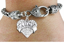 "<BR>  WHOLESALE HEART FASHION JEWELRY <bR>                   EXCLUSIVELY OURS!! <Br>              AN ALLAN ROBIN DESIGN!! <BR>        LEAD, NICKEL & CADMIUM FREE!! <BR>   W1559SB - ANTIQUED SILVER TONE AND <BR>CLEAR CRYSTAL ""AUNT"" HEART CHARM <BR>      ON HEART LOBSTER CLASP BRACELET <Br>        FROM $5.98 TO $12.85 �2014"