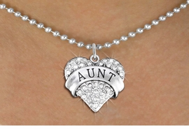 """<BR>       WHOLESALE FASHION HEART JEWELRY <bR>                     EXCLUSIVELY OURS!! <Br>                AN ALLAN ROBIN DESIGN!! <BR>       CLICK HERE TO SEE 1000+ EXCITING <BR>             CHANGES THAT YOU CAN MAKE! <BR>          LEAD, NICKEL & CADMIUM FREE!! <BR>     W1559SN - ANTIQUED SILVER TONE AND <BR>CLEAR CRYSTAL """"AUNT"""" HEART CHARM <BR>      NECKLACE FROM $5.40 TO $9.85 �2014"""