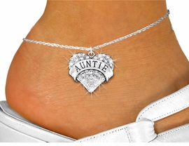 """<bR>      WHOLESALE FASHION COSTUME JEWELRY <BR>                     EXCLUSIVELY OURS!! <BR>                AN ALLAN ROBIN DESIGN!! <BR>          LEAD, NICKEL & CADMIUM FREE!! <BR>     W1560SAK - SILVER TONE AND GENUINE <BR>CLEAR CRYSTAL """"AUNTIE"""" HEART CHARM <Br>   AND ANKLET FROM $4.70 TO $9.35 �2014"""