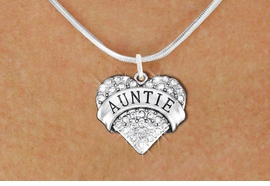 """<BR>       WHOLESALE FASHION HEART JEWELRY <bR>                     EXCLUSIVELY OURS!! <Br>                AN ALLAN ROBIN DESIGN!! <BR>       CLICK HERE TO SEE 1000+ EXCITING <BR>             CHANGES THAT YOU CAN MAKE! <BR>          LEAD, NICKEL & CADMIUM FREE!! <BR>     W1560SN - ANTIQUED SILVER TONE AND <BR>CLEAR CRYSTAL """"AUNTIE"""" HEART CHARM <BR>      NECKLACE FROM $5.40 TO $9.85 �2014"""
