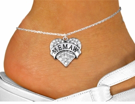 """<bR>      WHOLESALE FASHION COSTUME JEWELRY <BR>                     EXCLUSIVELY OURS!! <BR>                AN ALLAN ROBIN DESIGN!! <BR>          LEAD, NICKEL & CADMIUM FREE!! <BR>     W1561SAK - SILVER TONE AND GENUINE <BR>CLEAR CRYSTAL """"MEMAW"""" HEART CHARM <Br>   AND ANKLET FROM $4.70 TO $9.35 �2014"""