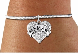 """<bR>    WHOLESALE FASHION CHARM BRACELET <BR>                     EXCLUSIVELY OURS!! <BR>                AN ALLAN ROBIN DESIGN!! <BR>          CADMIUM, LEAD & NICKEL FREE!! <BR>W1561SB - SILVER TONE AND CLEAR CRYSTAL <BR> """"MEMAW"""" HEART CHARM & SNAKE CHAIN<BR>      BRACELET FROM $5.98 TO $12.85 �2014"""