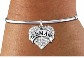 """<bR>    WHOLESALE FASHION CHARM BRACELET <BR>                     EXCLUSIVELY OURS!! <BR>                AN ALLAN ROBIN DESIGN!! <BR>          CADMIUM, LEAD & NICKEL FREE!! <BR>W1561SB - SILVER TONE AND CLEAR CRYSTAL <BR>""""MEMAW"""" HEART CHARM & SOLID WIRE <BR>      BRACELET FROM $5.98 TO $12.85 �2014"""