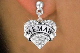 """<BR>  WHOLESALE HEART FASHION EARRINGS <bR>                 EXCLUSIVELY OURS!! <Br>            AN ALLAN ROBIN DESIGN!! <BR>      LEAD, NICKEL & CADMIUM FREE!! <BR>  W1561SE - ANTIQUED SILVER TONE AND <BR>CLEAR CRYSTAL """"MEMAW"""" HEART CHARM <BR>    EARRINGS FROM $5.40 TO $10.45 �2014"""