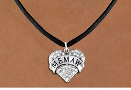 """<BR>       WHOLESALE FASHION HEART JEWELRY <bR>                     EXCLUSIVELY OURS!! <Br>                AN ALLAN ROBIN DESIGN!! <BR>       CLICK HERE TO SEE 1000+ EXCITING <BR>             CHANGES THAT YOU CAN MAKE! <BR>          LEAD, NICKEL & CADMIUM FREE!! <BR>     W1561SN - ANTIQUED SILVER TONE AND <BR>CLEAR CRYSTAL """"MEMAW"""" HEART CHARM <BR>      NECKLACE FROM $5.40 TO $9.85 �2014"""