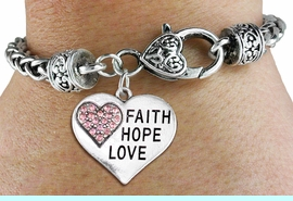 """<BR>  WHOLESALE HEART FASHION JEWELRY <bR>                   EXCLUSIVELY OURS!! <Br>              AN ALLAN ROBIN DESIGN!! <BR>        LEAD, NICKEL & CADMIUM FREE!! <BR>   W1562SB - ANTIQUED SILVER TONE AND <BR>PINK CRYSTAL """"FAITH, HOPE, LOVE"""" HEART CHARM <BR>      ON HEART LOBSTER CLASP BRACELET <Br>        FROM $5.98 TO $12.85 �2014"""