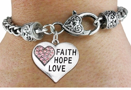 "<BR>  WHOLESALE HEART FASHION JEWELRY <bR>                   EXCLUSIVELY OURS!! <Br>              AN ALLAN ROBIN DESIGN!! <BR>        LEAD, NICKEL & CADMIUM FREE!! <BR>   W1562SB - ANTIQUED SILVER TONE AND <BR>PINK CRYSTAL ""FAITH, HOPE, LOVE"" HEART CHARM <BR>      ON HEART LOBSTER CLASP BRACELET <Br>        FROM $5.98 TO $12.85 �2014"