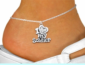 """<bR>      WHOLESALE FASHION COSTUME JEWELRY <BR>                     EXCLUSIVELY OURS!! <BR>                AN ALLAN ROBIN DESIGN!! <BR>          LEAD, NICKEL & CADMIUM FREE!! <BR>     W1563SAK - SILVER TONE AND CLEAR <BR>CRYSTAL """"I LOVE MY SOLDIER"""" CHARM <Br>   AND ANKLET FROM $4.70 TO $9.35 �2014"""