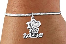 """<bR>    WHOLESALE FASHION CHARM BRACELET <BR>                     EXCLUSIVELY OURS!! <BR>                AN ALLAN ROBIN DESIGN!! <BR>          CADMIUM, LEAD & NICKEL FREE!! <BR>W1563SB - SILVER TONE AND CLEAR CRYSTAL <BR> """"I LOVE MY SOLDIER"""" CHARM & SNAKE CHAIN<BR>      BRACELET FROM $5.98 TO $12.85 �2014"""