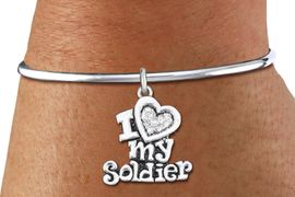"<bR>    WHOLESALE FASHION CHARM BRACELET <BR>                     EXCLUSIVELY OURS!! <BR>                AN ALLAN ROBIN DESIGN!! <BR>          CADMIUM, LEAD & NICKEL FREE!! <BR>W1563SB - SILVER TONE AND CLEAR CRYSTAL <BR>""I LOVE MY SOLDIER"" HEART CHARM & SOLID WIRE <BR>      BRACELET FROM $5.98 TO $12.85 �2014"