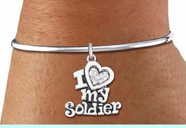 """<bR>    WHOLESALE FASHION CHARM BRACELET <BR>                     EXCLUSIVELY OURS!! <BR>                AN ALLAN ROBIN DESIGN!! <BR>          CADMIUM, LEAD & NICKEL FREE!! <BR>W1563SB - SILVER TONE AND CLEAR CRYSTAL <BR>""""I LOVE MY SOLDIER"""" HEART CHARM & SOLID WIRE <BR>      BRACELET FROM $5.98 TO $12.85 �2014"""