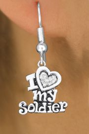 "<BR>  WHOLESALE ARMED FORCES EARRINGS <bR>                 EXCLUSIVELY OURS!! <Br>            AN ALLAN ROBIN DESIGN!! <BR>      LEAD, NICKEL & CADMIUM FREE!! <BR>  W1563SE - ANTIQUED SILVER TONE AND <BR>CLEAR CRYSTAL ""I LOVE MY SOLDIER"" CHARM <BR>    EARRINGS FROM $5.40 TO $10.45 �2014"