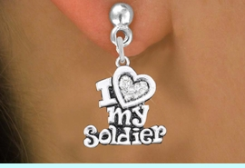"""<BR>  WHOLESALE ARMED FORCES EARRINGS <bR>                 EXCLUSIVELY OURS!! <Br>            AN ALLAN ROBIN DESIGN!! <BR>      LEAD, NICKEL & CADMIUM FREE!! <BR>  W1563SE - ANTIQUED SILVER TONE AND <BR>CLEAR CRYSTAL """"I LOVE MY SOLDIER"""" CHARM <BR>    EARRINGS FROM $5.40 TO $10.45 �2014"""