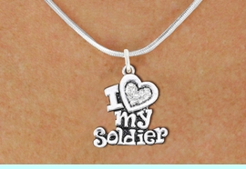 """<BR>       WHOLESALE FASHION HEART JEWELRY <bR>                     EXCLUSIVELY OURS!! <Br>                AN ALLAN ROBIN DESIGN!! <BR>       CLICK HERE TO SEE 1000+ EXCITING <BR>             CHANGES THAT YOU CAN MAKE! <BR>          LEAD, NICKEL & CADMIUM FREE!! <BR>     W1563SN - ANTIQUED SILVER TONE AND <BR>CLEAR CRYSTAL """"I LOVE MY SOLDIER"""" CHARM <BR>      NECKLACE FROM $5.40 TO $9.85 �2014"""