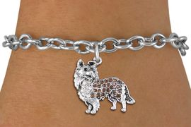 <BR>     WHOLESALE FASHION DOG JEWELRY <bR>                   EXCLUSIVELY OURS!! <Br>              AN ALLAN ROBIN DESIGN!! <BR>     CLICK HERE TO SEE 1000+ EXCITING <BR>           CHANGES THAT YOU CAN MAKE! <BR>        LEAD, NICKEL & CADMIUM FREE!! <BR>   W1564SB - ANTIQUED SILVER TONE CLEAR <BR>AND TOPAZ CRYSTAL COLLIE DOG CHARM <BR>   BRACELET FROM $5.40 TO $9.85 �2014