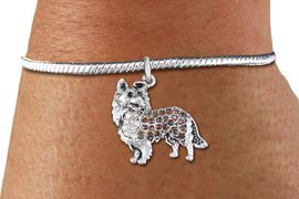 <bR>    WHOLESALE FASHION CHARM BRACELET <BR>                     EXCLUSIVELY OURS!! <BR>                AN ALLAN ROBIN DESIGN!! <BR>          CADMIUM, LEAD & NICKEL FREE!! <BR>W1564SB - SILVER TONE WITH CLEAR AND <BR> TOPAZ CRYSTAL COLLIE DOG CHARM & SNAKE CHAIN<BR>      BRACELET FROM $5.98 TO $12.85 �2014