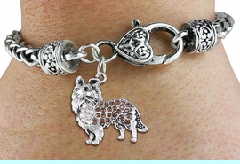<BR>  WHOLESALE DOG FASHION JEWELRY <bR>                   EXCLUSIVELY OURS!! <Br>              AN ALLAN ROBIN DESIGN!! <BR>        LEAD, NICKEL & CADMIUM FREE!! <BR>   W1564SB - ANTIQUED SILVER TONE CLEAR AND <BR>TOPAZ CRYSTAL COLLIE DOG CHARM <BR>      ON HEART LOBSTER CLASP BRACELET <Br>        FROM $5.98 TO $12.85 �2014