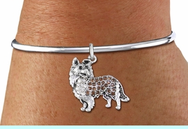 <bR>    WHOLESALE FASHION CHARM BRACELET <BR>                     EXCLUSIVELY OURS!! <BR>                AN ALLAN ROBIN DESIGN!! <BR>          CADMIUM, LEAD & NICKEL FREE!! <BR>W1564SB - SILVER TONE WITH CLEAR AND <BR>TOPAZ CRYSTAL COLLIE DOG CHARM & SOLID WIRE <BR>      BRACELET FROM $5.98 TO $12.85 �2014
