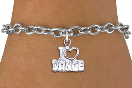 """<br> WHOLESALE FASHION CHARM BRACELET <bR>                    EXCLUSIVELY OURS!!<BR>               AN ALLAN ROBIN DESIGN!!<BR>      CLICK HERE TO SEE 1000+ EXCITING<BR>            CHANGES THAT YOU CAN MAKE!<BR>         CADMIUM, LEAD & NICKEL FREE!!<BR>     W1565SB - DETAILED 3D SILVER TONE <Br>"""" I LOVE DANCE"""" OPEN HEART CHARM & BRACELET <BR>             FROM $4.50 TO $8.35 �2014"""