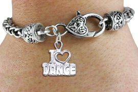 """<bR>                    FASHION CHARM BRACELET <BR>                     EXCLUSIVELY OURS!! <BR>                AN ALLAN ROBIN DESIGN!! <BR>          CADMIUM, LEAD & NICKEL FREE!! <BR>        W1565SB - DETAILED 3D SILVER TONE <BR>""""I LOVE DANCE"""" OPEN HEART CHARM & HEART <BR> CLASP BRACELET             $9.68 EACH �2014"""