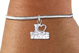 """<bR>    WHOLESALE FASHION CHARM BRACELET <BR>                     EXCLUSIVELY OURS!! <BR>                AN ALLAN ROBIN DESIGN!! <BR>          CADMIUM, LEAD & NICKEL FREE!! <BR>        W1565SB - DETAILED 3D SILVER TONE <BR>""""I LOVE DANCE"""" OPEN HEART CHARM & SNAKE CHAIN<BR>      BRACELET FROM $4.40 TO $9.20 �2014"""