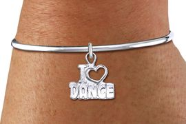 """<bR>    WHOLESALE FASHION CHARM BRACELET <BR>                     EXCLUSIVELY OURS!! <BR>                AN ALLAN ROBIN DESIGN!! <BR>          CADMIUM, LEAD & NICKEL FREE!! <BR>        W1565SB - DETAILED 3D SILVER TONE <BR>""""I LOVE DANCE"""" OPEN HEART CHARM & SOLID WIRE <BR>      BRACELET FROM $4.40 TO $9.20 �2014"""