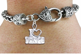 "<bR>                    FASHION CHARM BRACELET <BR>                     EXCLUSIVELY OURS!! <BR>                AN ALLAN ROBIN DESIGN!! <BR>          CADMIUM, LEAD & NICKEL FREE!! <BR>        W1565SB - DETAILED 3D SILVER TONE <BR>""I LOVE DANCE"" OPEN HEART CHARM & HEART <BR> CLASP BRACELET             $9.68 EACH �2014"