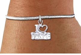 "<bR>    WHOLESALE FASHION CHARM BRACELET <BR>                     EXCLUSIVELY OURS!! <BR>                AN ALLAN ROBIN DESIGN!! <BR>          CADMIUM, LEAD & NICKEL FREE!! <BR>        W1565SB - DETAILED 3D SILVER TONE <BR>""I LOVE DANCE"" OPEN HEART CHARM & SNAKE CHAIN<BR>      BRACELET FROM $4.40 TO $9.20 �2014"