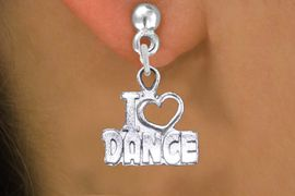 "<br>     WHOLESALE DANCE CHARM EARRINGS <bR>                 EXCLUSIVELY OURS!! <BR>            AN ALLAN ROBIN DESIGN!! <BR>      CADMIUM, LEAD & NICKEL FREE!! <BR>    W1565SE - DETAILED SILVER TONE <Br>""I LOVE DANCE"" OPEN HEART CHARM EARRINGS <BR>          FROM $3.65 TO $8.40 �2014"