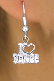 """<br>     WHOLESALE DANCE CHARM EARRINGS <bR>                 EXCLUSIVELY OURS!! <BR>            AN ALLAN ROBIN DESIGN!! <BR>      CADMIUM, LEAD & NICKEL FREE!! <BR>    W1565SE - DETAILED SILVER TONE <Br>""""I LOVE DANCE"""" OPEN HEART CHARM EARRINGS <BR>          FROM $3.65 TO $8.40 �2014"""