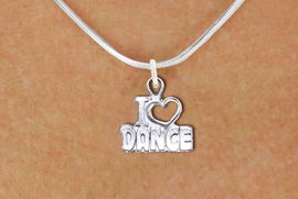 """<br>      WHOLESALE FASHION DANCE JEWELRY <bR>                   EXCLUSIVELY OURS!! <BR>         AN ALLAN ROBIN DESIGN!! <BR>   CLICK HERE TO SEE 1000+ EXCITING <BR>      CHANGES THAT YOU CAN MAKE! <BR>        CADMIUM, LEAD & NICKEL FREE!! <BR>  W1565SN - DETAILED 3D SILVER TONE <BR>""""I LOVE DANCE"""" OPEN HEART CHARM & NECKLACE <BR>             FROM $4.85 TO $8.30 �2014"""