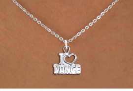 "<br>      WHOLESALE FASHION DANCE JEWELRY <bR>                   EXCLUSIVELY OURS!! <BR>         AN ALLAN ROBIN DESIGN!! <BR>   CLICK HERE TO SEE 1000+ EXCITING <BR>      CHANGES THAT YOU CAN MAKE! <BR>        CADMIUM, LEAD & NICKEL FREE!! <BR>  W1565SN - DETAILED 3D SILVER TONE <BR>""I LOVE DANCE"" OPEN HEART CHARM & NECKLACE <BR>             FROM $4.85 TO $8.30 �2014"