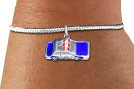 <bR>    WHOLESALE FASHION CHARM BRACELET <BR>                     EXCLUSIVELY OURS!! <BR>                AN ALLAN ROBIN DESIGN!! <BR>          CADMIUM, LEAD & NICKEL FREE!! <BR> W1569SB - DETAILED 3D SILVER TONE WITH RED  <BR>AND BLUE COLOR FILL POLICE CAR CHARM & SNAKE CHAIN<BR>      BRACELET FROM $4.40 TO $9.20 �2014