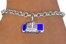 <br> WHOLESALE FASHION CHARM BRACELET <bR>                    EXCLUSIVELY OURS!!<BR>               AN ALLAN ROBIN DESIGN!!<BR>      CLICK HERE TO SEE 1000+ EXCITING<BR>            CHANGES THAT YOU CAN MAKE!<BR>         CADMIUM, LEAD & NICKEL FREE!!<BR> W1569SB - DETAILED 3D SILVER TONE WITH <Br>BLUE AND RED FILL POLICE CAR CHARM & BRACELET <BR>             FROM $4.50 TO $8.35 �2014