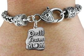 """<bR>    WHOLESALE FASHION CHARM BRACELET <BR>                     EXCLUSIVELY OURS!! <BR>                AN ALLAN ROBIN DESIGN!! <BR>          CADMIUM, LEAD & NICKEL FREE!! <BR>        W1570SB - DETAILED 3D SILVER TONE <BR>""""DRILL TEAM MOM"""" CHARM & HEART <BR> CLASP BRACELET FROM $4.40 TO $9.20 �2014"""