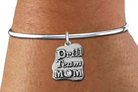"""<bR>    WHOLESALE FASHION CHARM BRACELET <BR>                     EXCLUSIVELY OURS!! <BR>                AN ALLAN ROBIN DESIGN!! <BR>          CADMIUM, LEAD & NICKEL FREE!! <BR>         W1570SB - DETAILED 3D SILVER TONE <BR>""""DRILL TEAM MOM"""" CHARM & SOLID WIRE <BR>      BRACELET FROM $4.40 TO $9.20 �2014"""