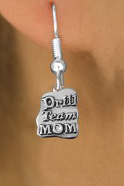 """<br>     WHOLESALE DANCE CHARM EARRINGS <bR>                 EXCLUSIVELY OURS!! <BR>            AN ALLAN ROBIN DESIGN!! <BR>      CADMIUM, LEAD & NICKEL FREE!! <BR>    W1570SE - DETAILED SILVER TONE <Br> """"DRILL TEAM MOM"""" CHARM EARRINGS <BR>          FROM $3.65 TO $8.40 �2014"""