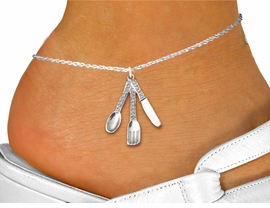 <bR>      WHOLESALE SILVERWARE COSTUME JEWELRY <BR>                     EXCLUSIVELY OURS!! <BR>                AN ALLAN ROBIN DESIGN!! <BR>          LEAD, NICKEL & CADMIUM FREE!! <BR>     W1571SAK - SILVER TONE CLEAR CRYSTAL <BR> SPOON, FORK AND KNIFE CHARM <Br>   AND ANKLET FROM $4.70 TO $9.35 �2014