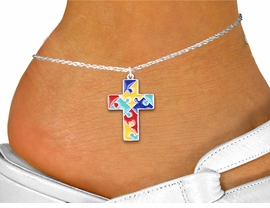 <bR>       WHOLESALE AUTISM ANKLET JEWELRY <BR>                  EXCLUSIVELY OURS!! <BR>             AN ALLAN ROBIN DESIGN!! <BR>       CADMIUM, LEAD & NICKEL FREE!! <BR>W1572SAK - 2-SIDED SILVER TONE COLOR <Br>AUTISM PUZZLE CROSS & ANKLET <BR>           FROM $3.65 TO $8.30 �2014