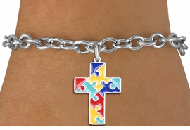 """<br> WHOLESALE AUTISM CHARM BRACELET <bR>                    EXCLUSIVELY OURS!!<BR>               AN ALLAN ROBIN DESIGN!!<BR>""""Lord Protect Me And Keep Me Safe"""" <BR>     CADMIUM, LEAD & NICKEL FREE!!<BR>     W1572SB - 2-SIDED SILVER TONE <Br>AUTISM COLOR PUZZLE CROSS CHARM <BR>& BRACELET FROM $4.50 TO $8.35 �2014"""